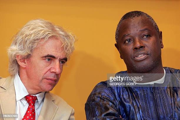 Victims' lawyer French William Bourdon and Alioune Tine of the Senegalese nongovernmental organization RADDHO give a press conference on the trial of...