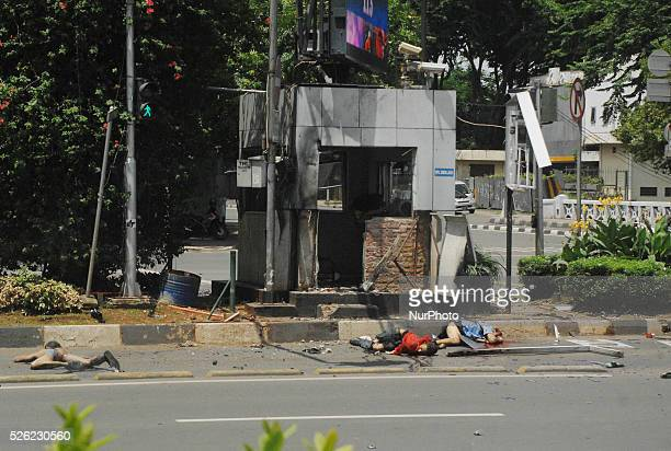 Victims of a terrorist bomb attack at the traffic police station adjacent to starbucks cafe at Sarinah and Jakarta causing about 6 people were killed...