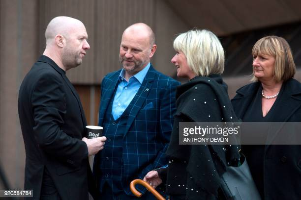 Victims of abuse by former football coach Barry Bennell Jason Dunsford and Chris Unsworth talk outside Liverpool Crown Court on February 19 2018 as...