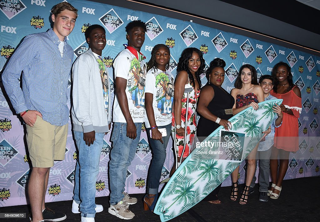 Victims of gun violence pose in the press room during Teen Choice Awards 2016 at The Forum on July 31, 2016 in Inglewood, California.