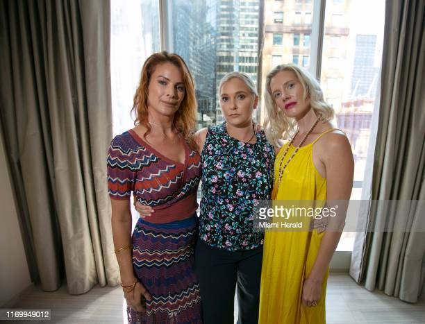 Victims of Jeffrey Epstein from left Sarah Ransome Virginia Roberts Giuffre and Marijke Chartouni find support in each other after having met at an...