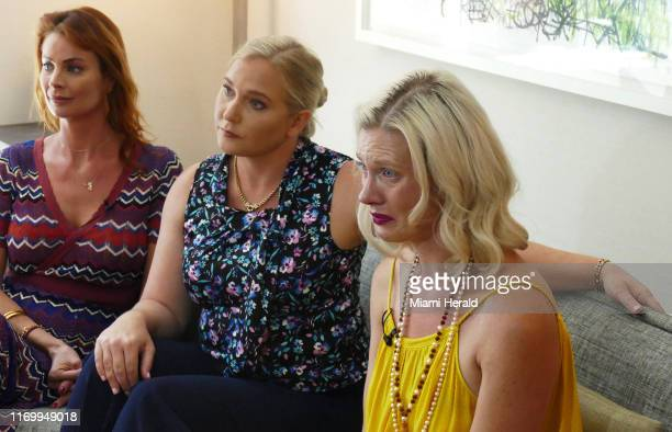 Victims of Jeffrey Epstein from left Sarah Ransome Virginia Roberts Giuffre and Marijke Chartouni talk about their abuse by Jeffrey Epstein and his...