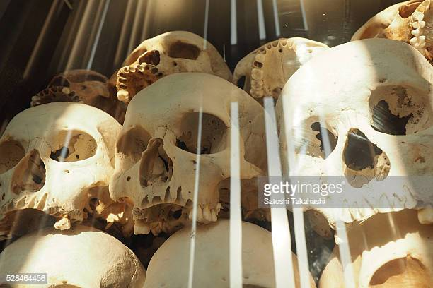 Victims of pol pot regime that are laid in memorial monument at Choeung Ek Genocidal Center There were 343 killing fields 167 concentration camps and...