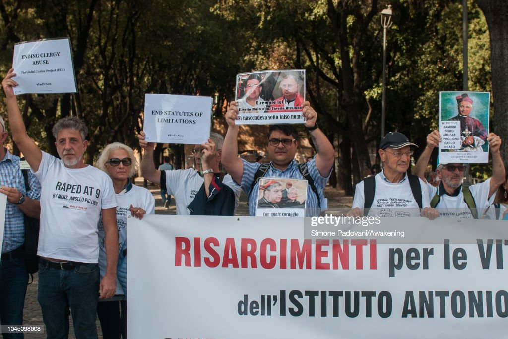 Protest of Victims of sexual abuse by clergy during the opening of the Synod of Youth in Rome : News Photo