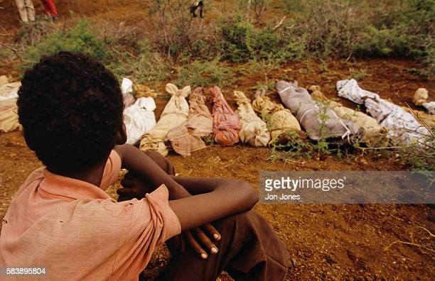 Victims of starvation in the Somalian city of Baidoa.