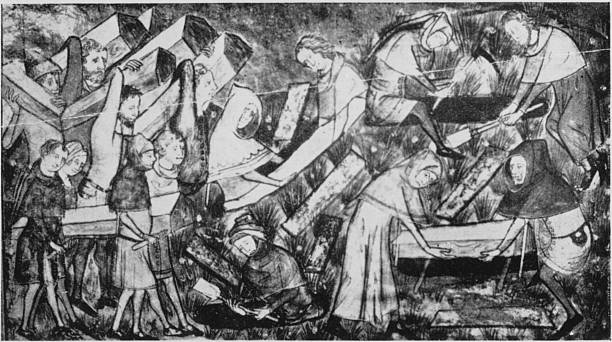 Victims of the Black Death being buried at Tournai,...