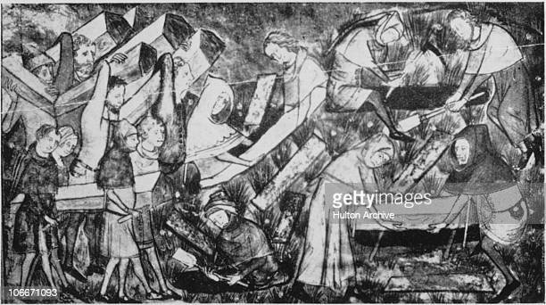 Victims of the Black Death being buried at Tournai, then part of the Netherlands, 1349. The Black Death was thought to have been an outbreak of the...