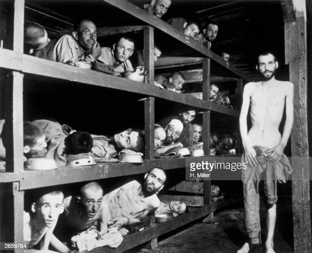 Victims of the Buchenwald concentration camp, liberated by the American troops of the 80th Division. Amongst them is Elie Wiesel who went on to...