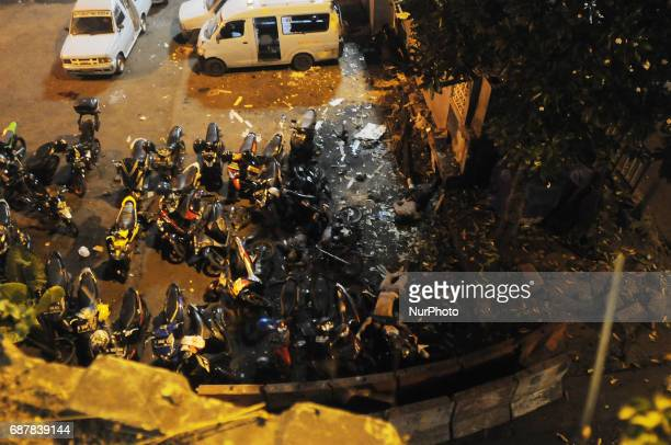 CONTENT*** Victims of the explosion death lying in a parking lot by a bomb at the Kampung Melayu Terminal on the night of Jakarta May 24 2016 A...