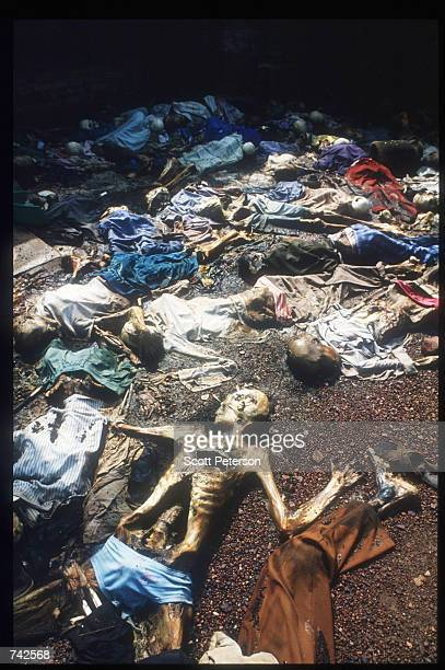 Victims of the genocidal campaign planned by Hutu extremists lay strewn across the Rwandan landscape May 25 1994 in Rwanda Following the...