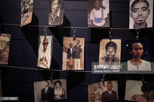 Victims pictures are displayed at the Kigali Genocide Memorial in Kigali, Rwanda, on April 7, 2021.