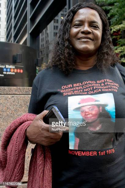A victims' relative wearing a tshirt demoralizing her loved one who perished on 9/11