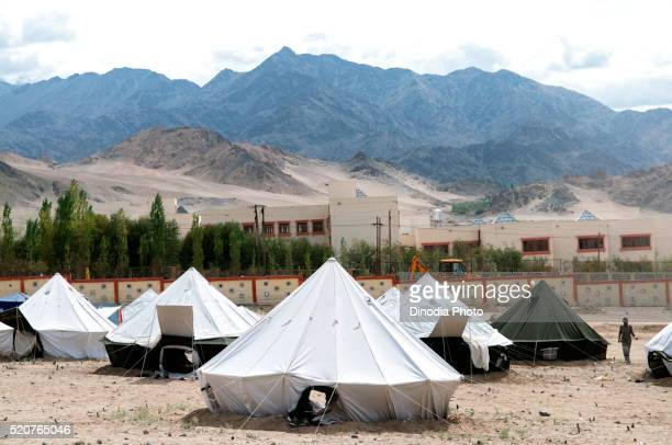 victims relief camp in choglamsar due to flashflood, leh, ladakh, jammu and kashmir, india - 危機管理 ストックフォトと画像