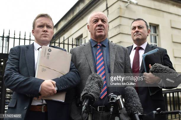 Victims rights campaigner Raymond McCord holds a press conference alongside his legal team outside Belfast High Court following a legal challenge...
