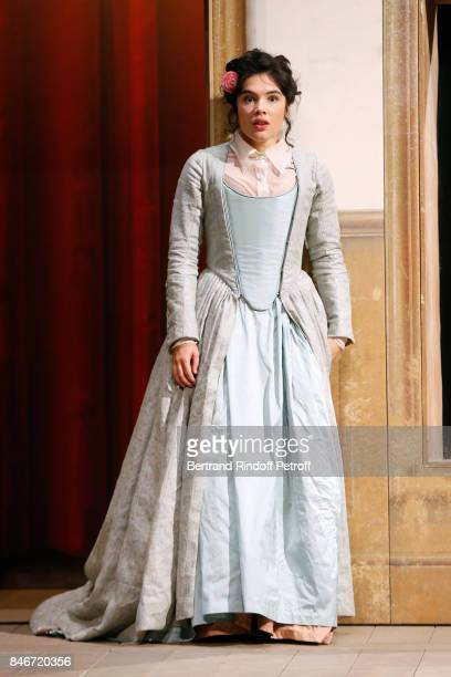 Victoire Belezy performs in 'Les Jumeaux Venitiens' Press Theater Play at Theatre Hebertot on September 6 2017 in Paris France