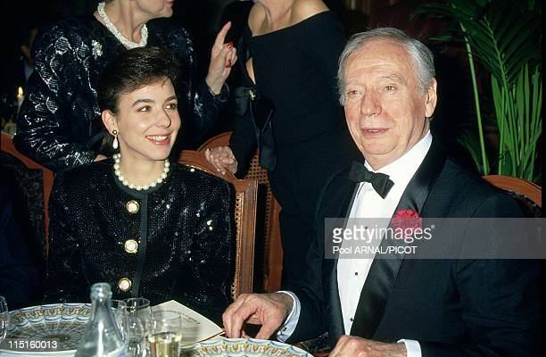 Victoires de la musique in Paris France in 1991 Yves Montand with date Carole Amiel