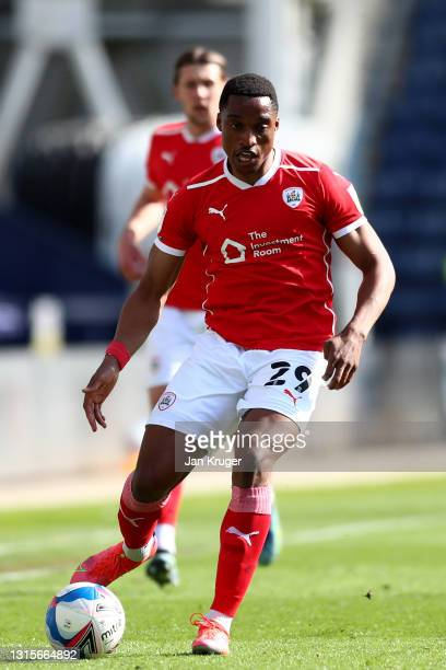 Victor Adeboyejo of Barnsley during the Sky Bet Championship match between Preston North End and Barnsley at Deepdale on May 01, 2021 in Preston,...