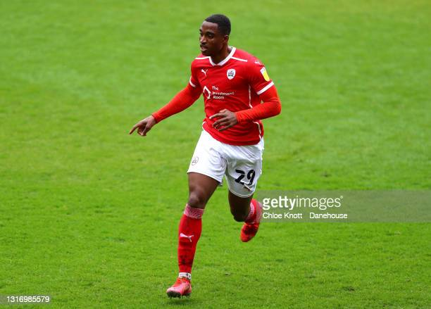 Victor Adeboyejo of Barnsley during the Sky Bet Championship match between Barnsley and Norwich City at Oakwell Stadium on May 08, 2021 in Barnsley,...