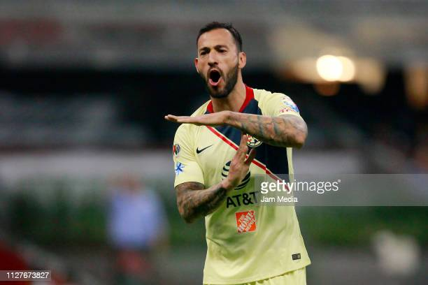 Victor Aguilera of America celebrates after scoring the first goal of his team during a match between Club America and Necaxa as part of the Copa MX...
