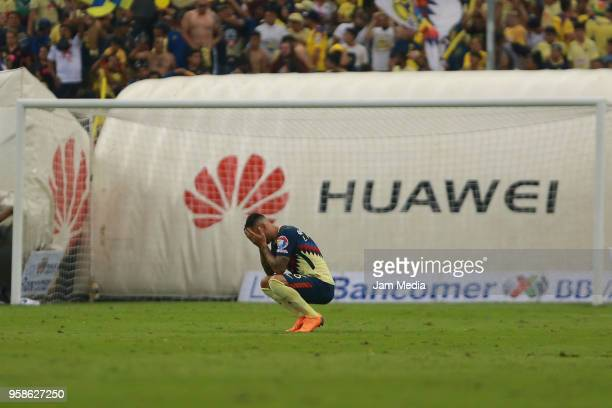 Victor Aguilera of America reacts during the semifinals second leg match between America and Santos Laguna as part of the Torneo Clausura 2018 Liga...