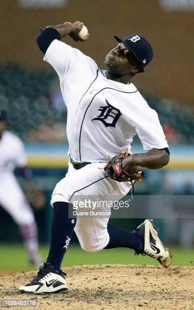 Victor Alcantara of the Detroit Tigers pitches against the Houston Astros at Comerica Park on September 11 2018 in Detroit Michigan