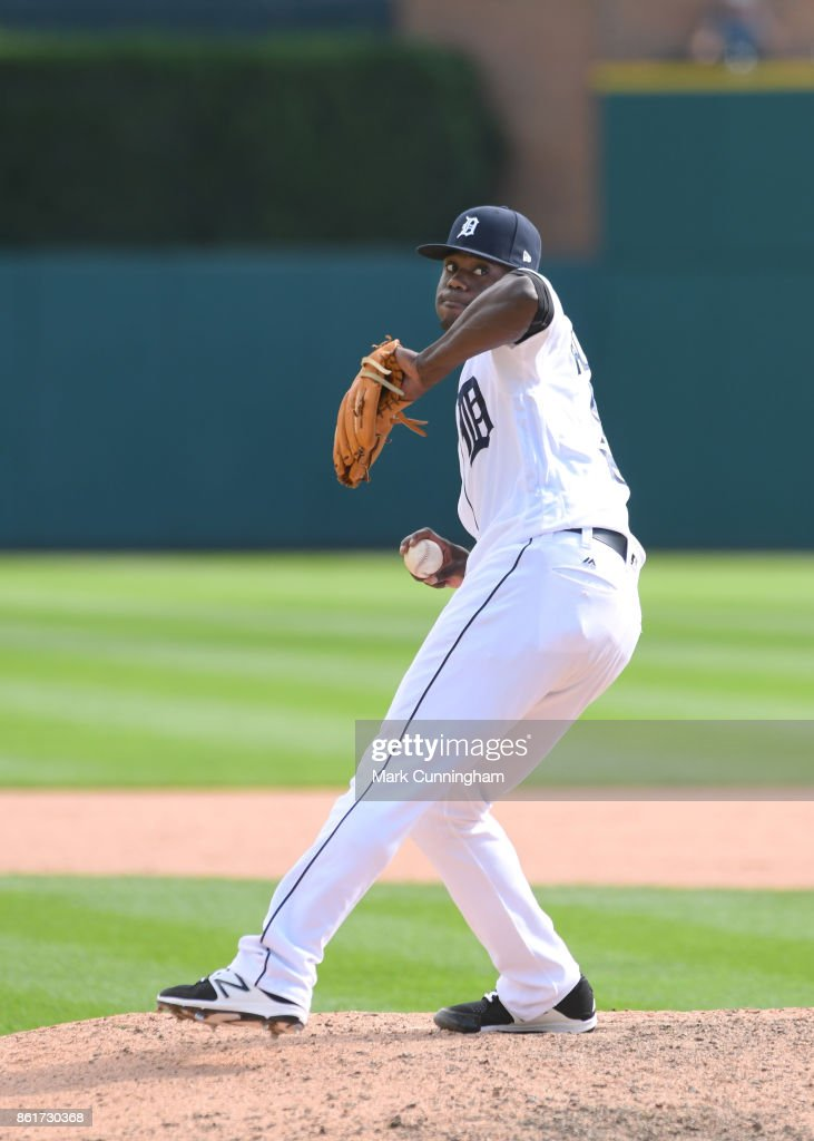 Victor Alcantara #58 of the Detroit Tigers throws a warm-up pitch during the game against the Chicago White Sox at Comerica Park on September 14, 2017 in Detroit, Michigan. The White Sox defeated the Tigers 17-7.