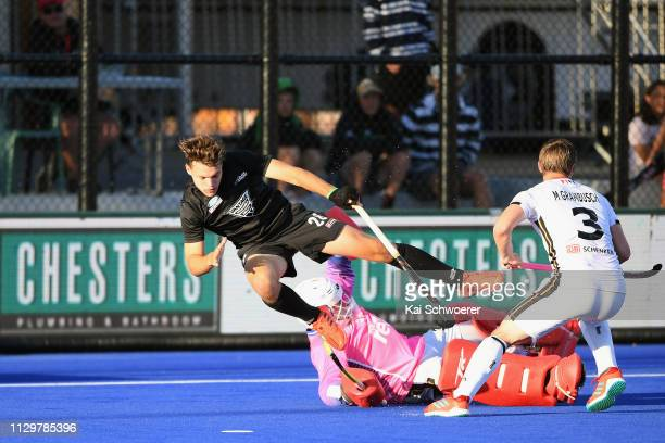 Victor Aly of Germany makes a save against Dominic Newman of New Zealand during the New Zealand v Germany Men's FIH Field Hockey Pro League match on...