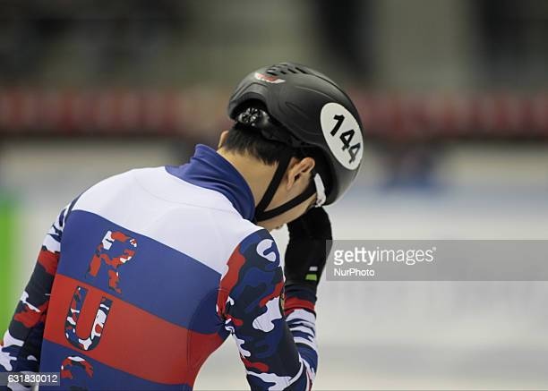 Victor An during European Short Track Speed Skating Championships in Turin on January 14 2017