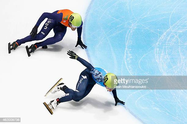 Victor An of Russia and Daan Breeuwsma of the Netherlands compete in the Mens 500m Heats during day 1 of the ISU European Short Track Speed Skating...