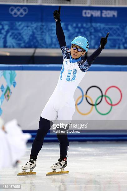 Victor An of Russia celebrates after winning the gold medal during the Men's 1000 m Final Short Track Speed Skating on day 8 of the Sochi 2014 Winter...