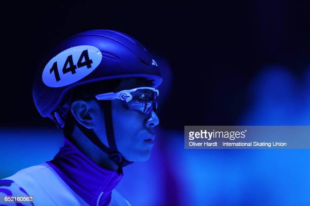 Victor An of Russia competes in the Men's 1500m semifinals race during day one of ISU World Short Track Championships at Rotterdam Ahoy Arena on...