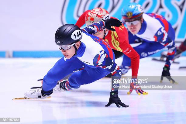 Victor An of Russia competes in the Men«s 500m quarterfinals race during day one of ISU World Short Track Championships at Rotterdam Ahoy Arena on...