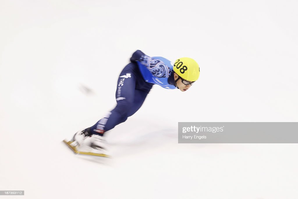 Victor An of Russia in action during the Men's 1000m pre-preliminaries on day two of the Samsung ISU Short Track World Cup at the Palatazzoli on November 8, 2013 in Turin, Italy.