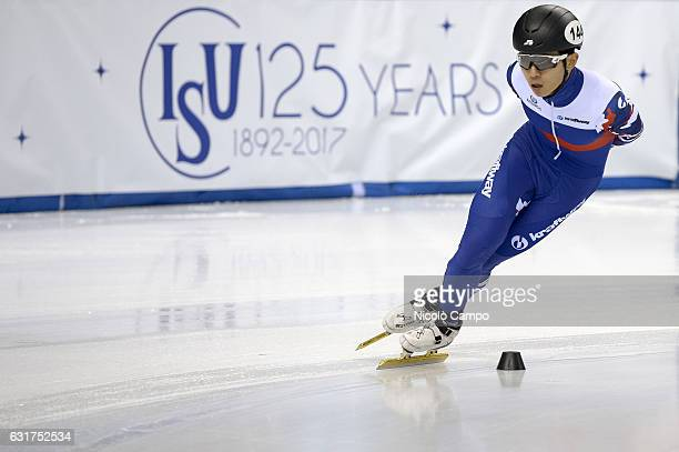 Victor An of Russia in action in the Men Super Final during the European Short Track Speed Skating championships in Turin