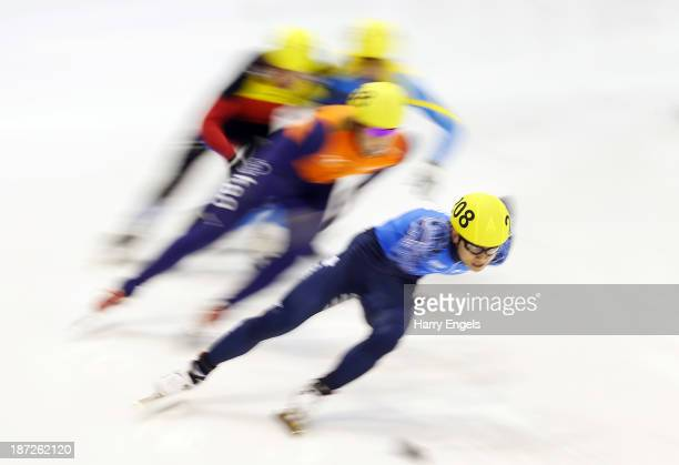 Victor An of Russia leads during the Men's 500m preliminaries during day one of the Samsung ISU Short Track World Cup at the Palatazzoli on November...