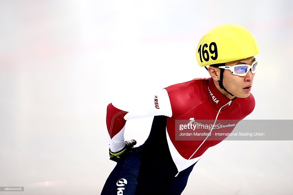 Victor An of Russia looks on after competing in the Men's 1500m semi-finals on day one of the ISU World Cup Short Track Speed Skating on February 14, 2015 in Erzurum, Turkey.