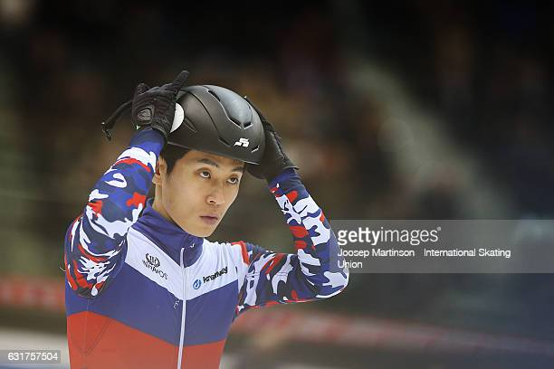 Victor An of Russia prepares in the Men's 5000m Super Final during day 2 of the European Short Track Speed Skating Championships at Palavela Arena on...
