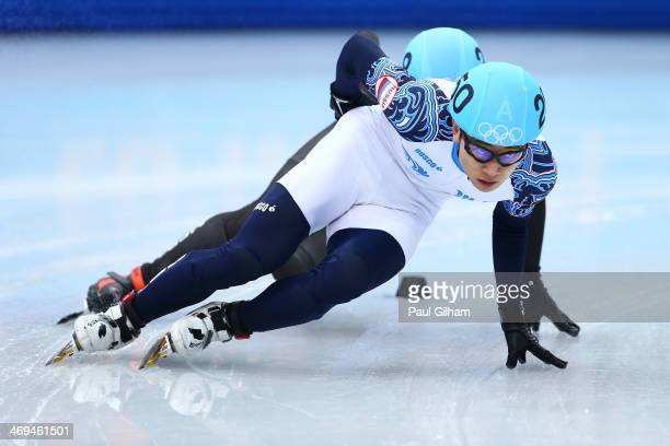 Victor An of Russia skates during the Men's 1000m Quarterfinal Short Track Speed Skating on day 8 of the Sochi 2014 Winter Olympics at the Iceberg...