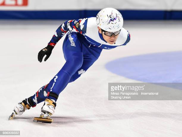 Victor An of Russia skates in the warmup during the World Short Track Speed Skating Championships at Maurice Richard Arena on March 18 2018 in...