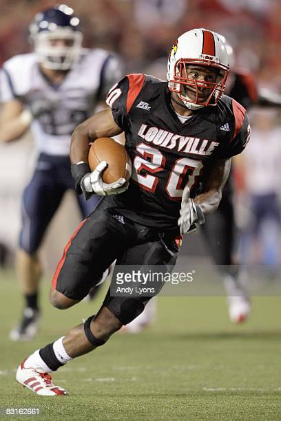 Victor Anderson of the Louisville Cardinals carries the ball during the Big East game against the Connecticut Huskies on September 26 2008 at Papa...