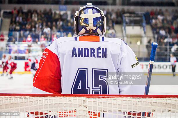 Victor Andren of Vaxjo Lakers during the 3rd period of the Champions Hockey League group stage game between YunostMinsk and Vaxjo Lakers on August 23...