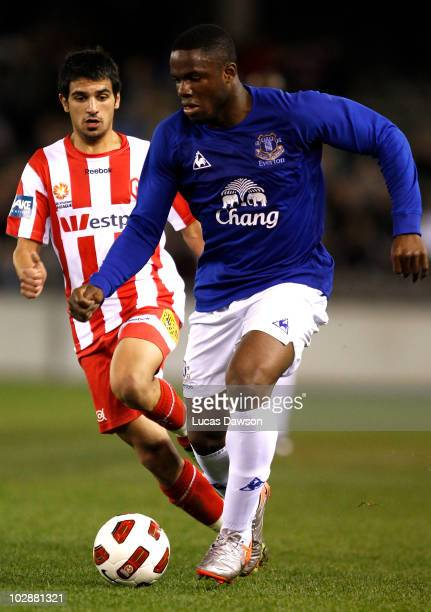 Victor Anichebe of Everton contols the ball during a preseason friendly match between Melbourne Heart and Everton at Etihad Stadium on July 14 2010...