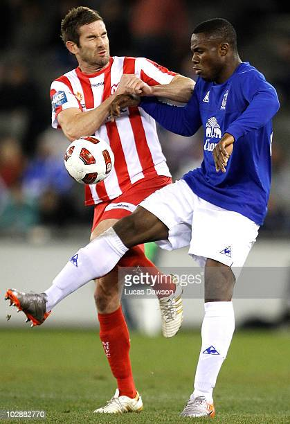 Victor Anichebe of Everton controls the ball against Dean Heffernan of Melbourne Heart during a preseason friendly match between Melbourne Heart and...