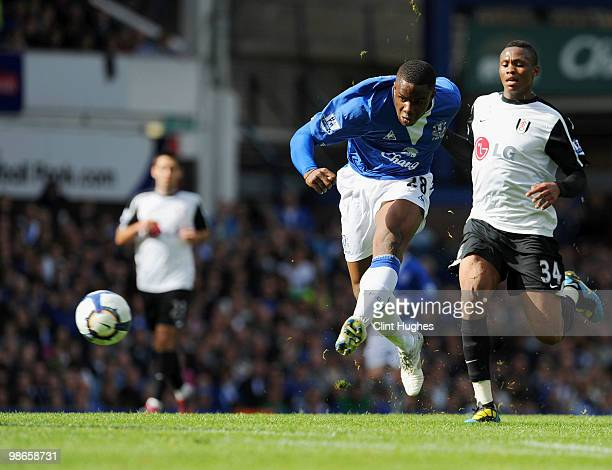 Victor Anichebe of Everton has a shot on goal during the Barclays Premier League match between Everton and Fulham at Goodison Park on April 25, 2010...