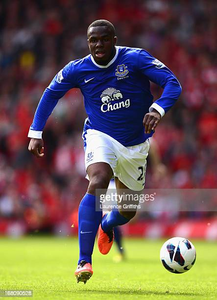 Victor Anichebe of Everton in action during the Barclays Premier League match between Liverpool and Everton at Anfield on May 5, 2013 in Liverpool,...