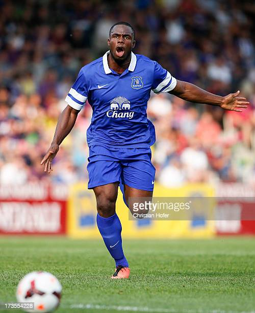 Victor Anichebe of Everton in action during the preseason friendly match between Austria Wien and FC Everton at the Generali Arena on July 14, 2013...