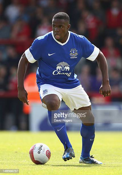 Victor Anichebe of Everton runs with the ball during the pre season friendly match between Morecambe and Everton at Globe Arena on July 14, 2012 in...