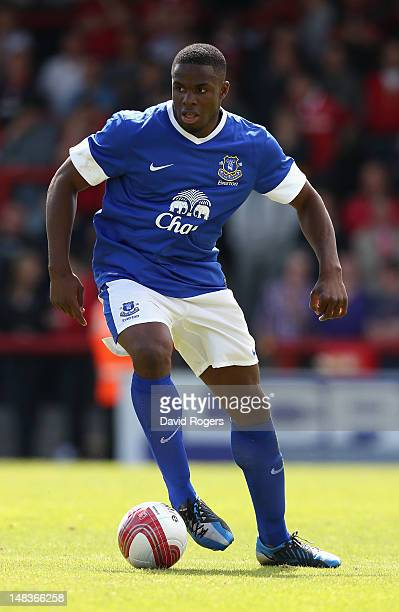 Victor Anichebe of Everton runs with the ball during the pre season friendly match between Morecambe and Everton at Globe Arena on July 14 2012 in...