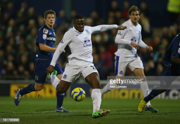 Victor Anichebe of Everton scores his team's first goal to make the score 11 during the FA Cup with Budweiser Fifth Round match between Oldham...