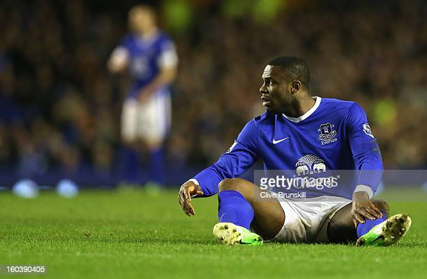 Victor Anichebe of Everton shows his dejection after a near miss during the Barclays Premier League match between Everton and West Bromwich Albion at...
